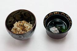 鯛の五目ご飯と烏賊団子の吸い物