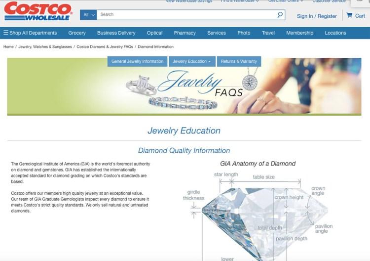 Costco 也賣鑽石 |  4C標準比一比