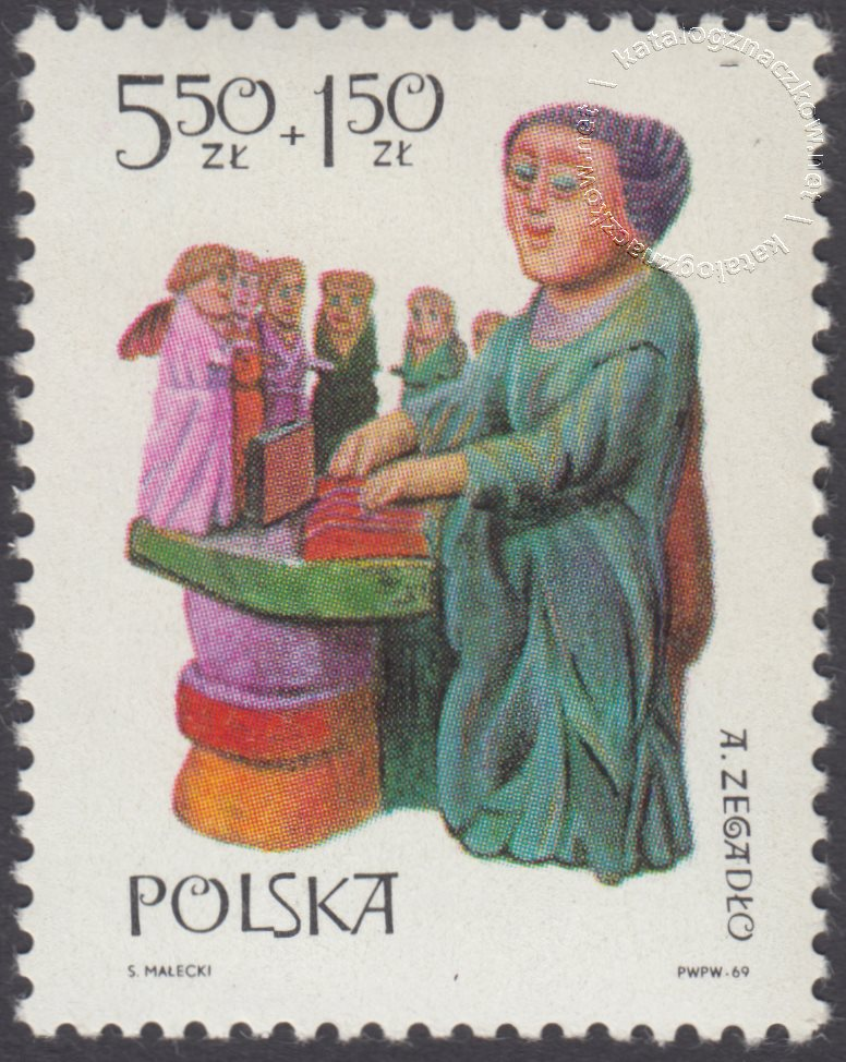 Polska rzeźba ludowa znaczek nr 1830