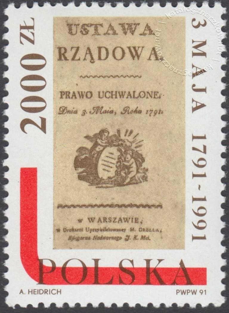 200 rocznica Konstytucji 3 Maja znaczek nr 3180