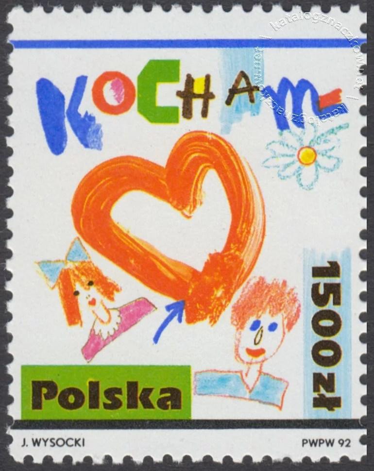 Rysunki dziecięce – Kocham znaczek nr 3238