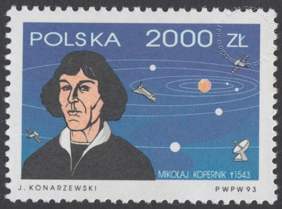 450 rocznica śmierci Mikołaja Kopernika znaczek nr 3303