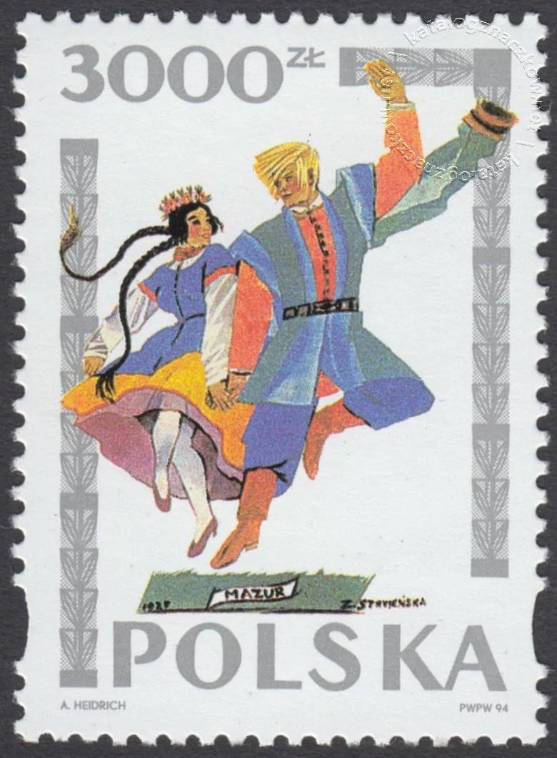Tańce polskie wg Zofii Stryjeńskiej znaczek nr 3342