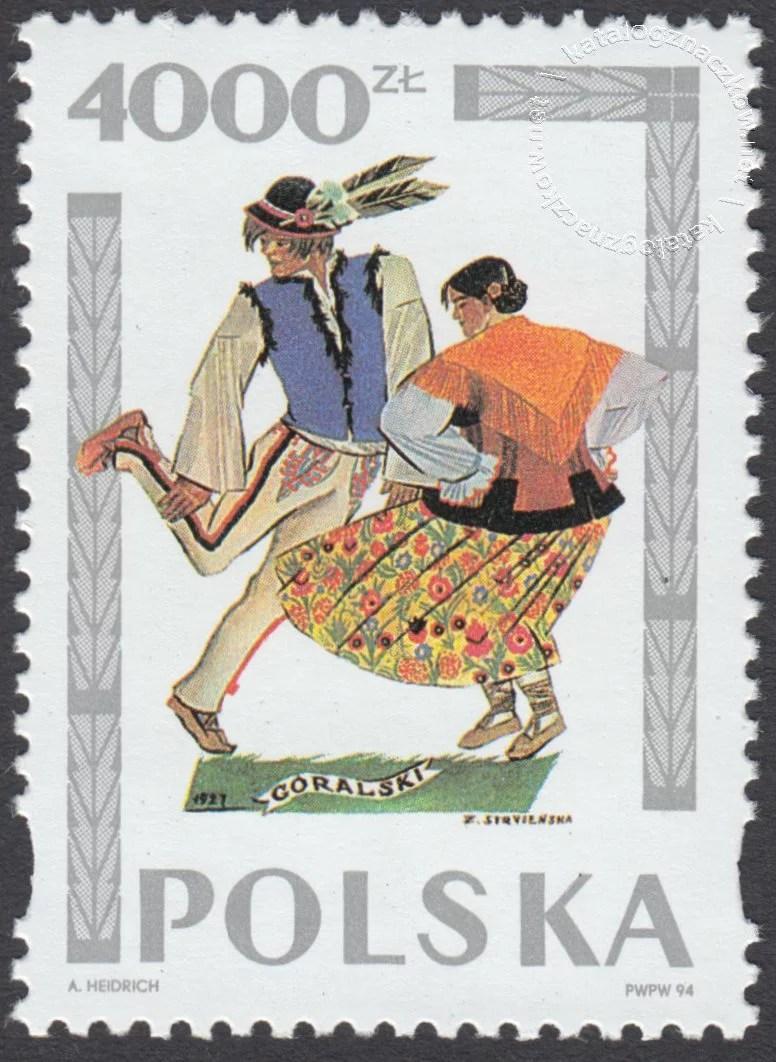 Tańce polskie wg Zofii Stryjeńskiej znaczek nr 3343