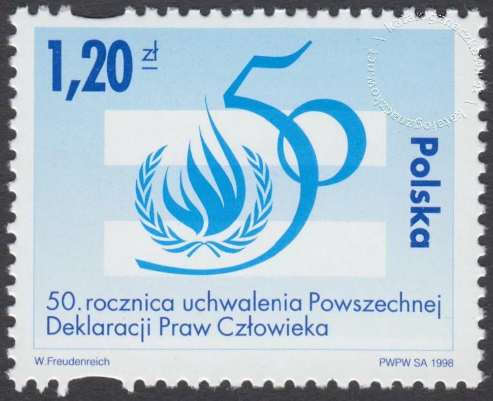 50 rocznica Deklaracji Praw Człowieka znaczek nr 3588
