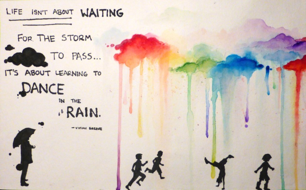 Dance in the Rain - Watercolor & Ink