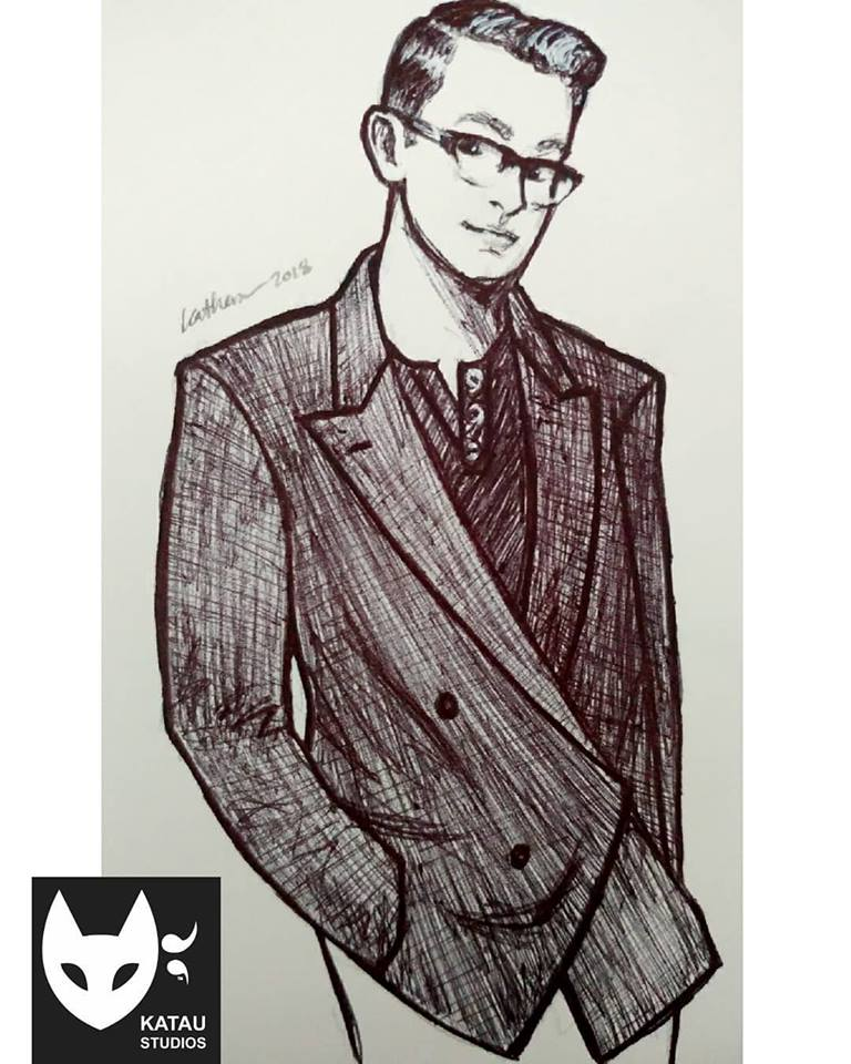 Suit & Haircut- Anthony - Pen Drawing by Katherine Augade