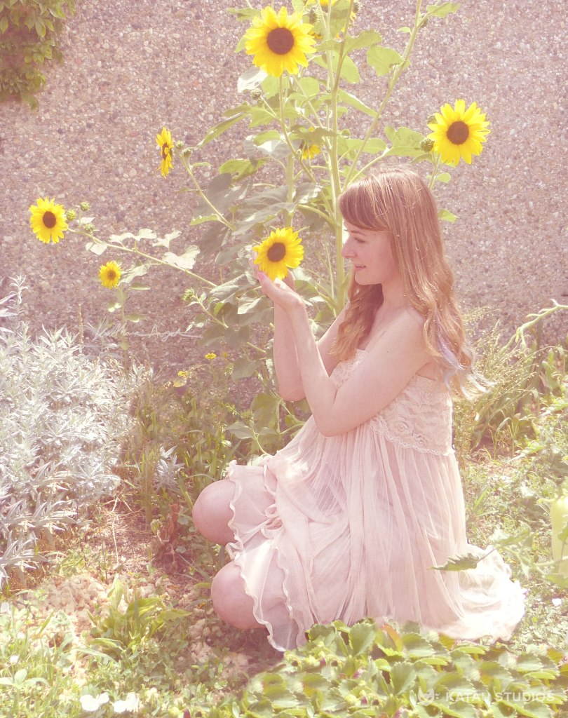 Sunflower Vintage Dress Pastel Photo Edit