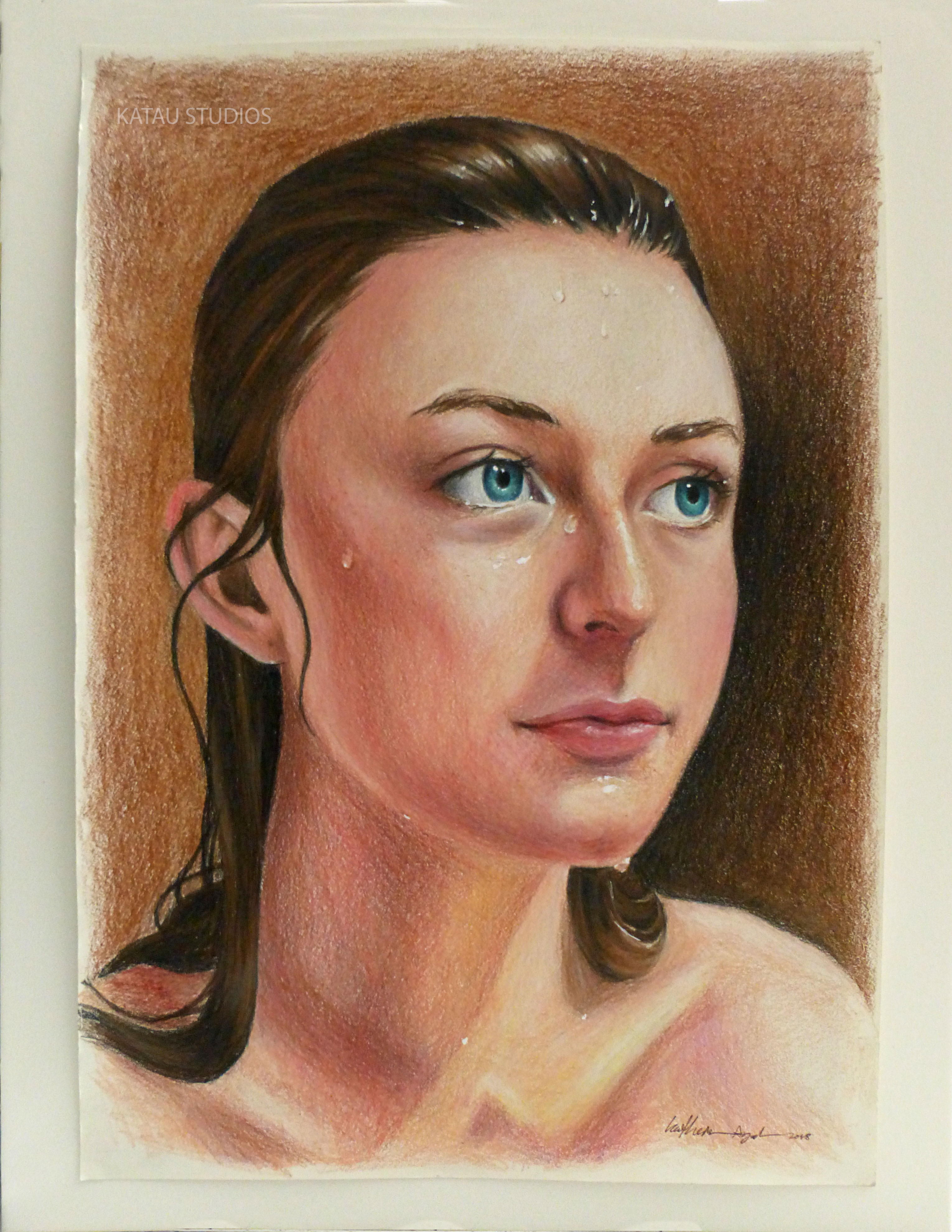 Wet Portrait Drawing - Colored Pencil & White Ink