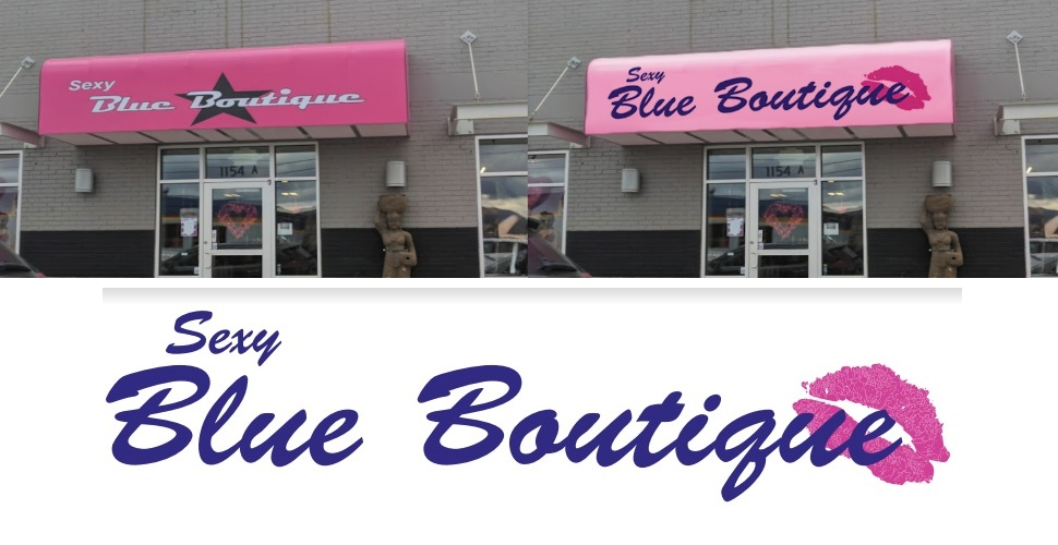 Blue Boutique Logo Redesign and Sign Mockup by Katherine Augade