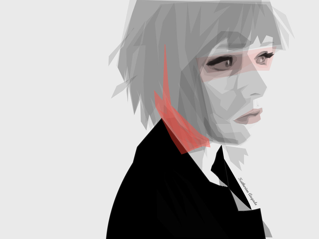 Pink Hair Digital Vector Self-Portrait by Katherine Augade