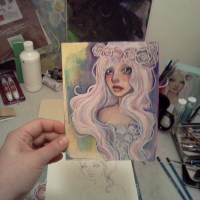 Mermaid Hair and Flower Crown original acrylic painting 5 x 7