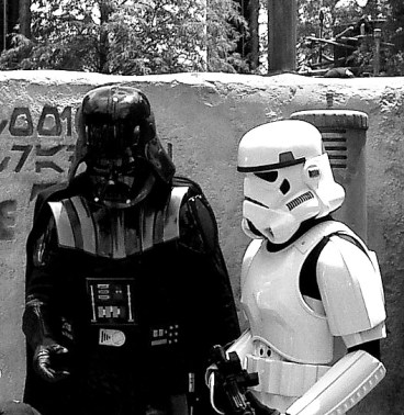 bw Darth Vader and Storm Trooper