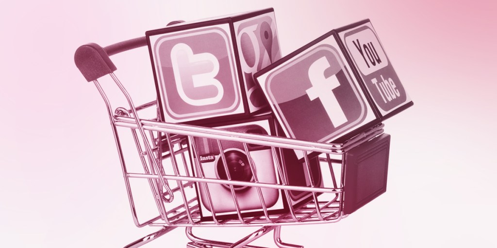 Social media icons in shopping trolley