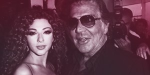 Myriam Fares & Roberto Cavalli on red carpet (Celebrity Management Services)