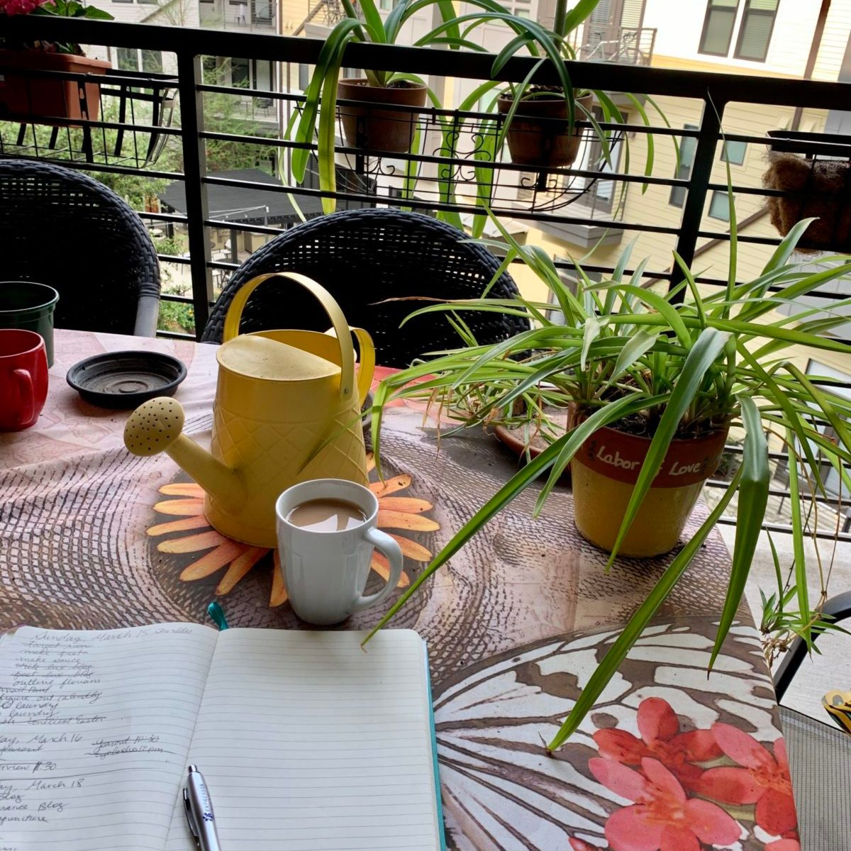 A picture of my patio on a sunny day with plants, my notebook, a cup of tea, and a yellow watering can