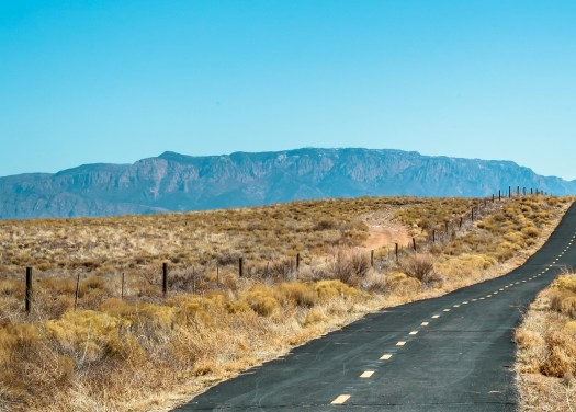 A road in the desert of New Mexico showing brown and yellow sage and the Sandia Mountains in the far distance.