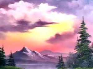 bob ross sunset aglow