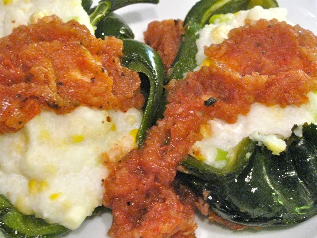 Polenta Stuffed Poblano Peppers