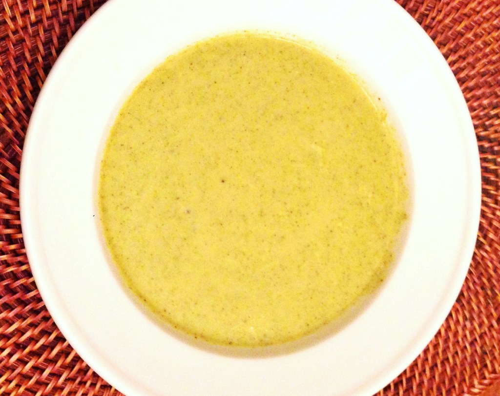 Roast Broccoli Cheese Soup with Roast Garlic