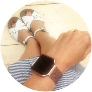 Salt water sandals and Fitbit pink rose gold strap