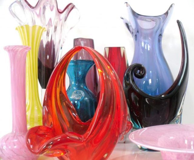 Vintage glass vases as featured on Kate Beavis Vintage Home blog