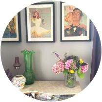 Handpicked flowers with poole pottery and 1950s magazine covers on Kate Beavis blog