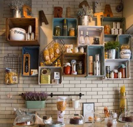 Vintage Styling Tips - reclaimed materials - vintage crates as kitchen storage via Your Vintage Life by Kate Beavis