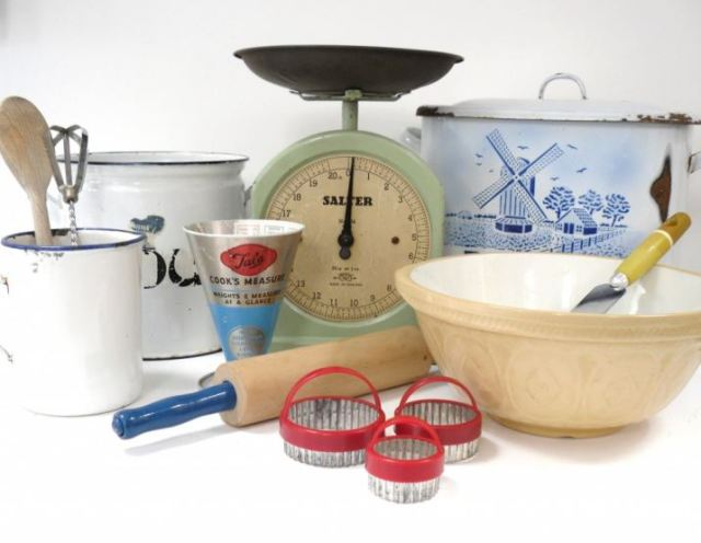 vintage enamel kitchen ware by Kate Beavis