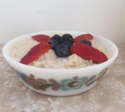 almond milk porridge in vintage pyrex