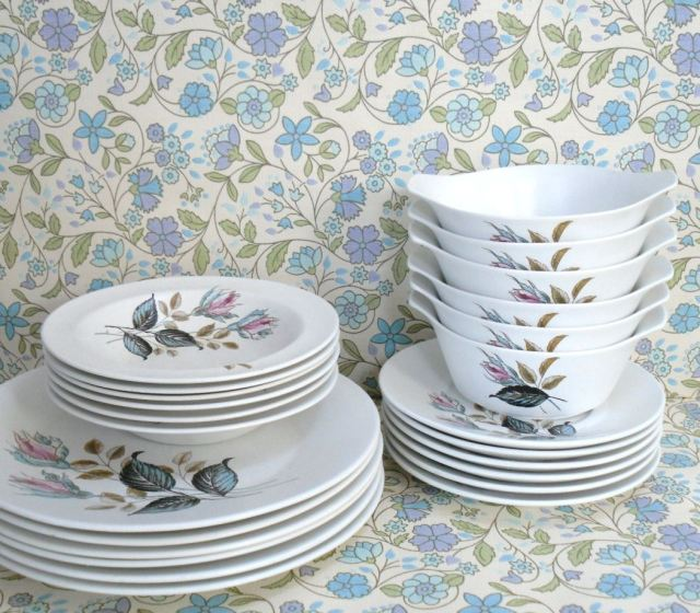 spring wallpaper vintage Meakin ceramics by Kate Beavis