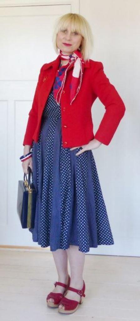 Vintage fashion; Jean Allen 1960s dress, Jaeger jacket, Marks and Spencer box bag, Lotta from Stockholm clogs worn by Kate Beavis