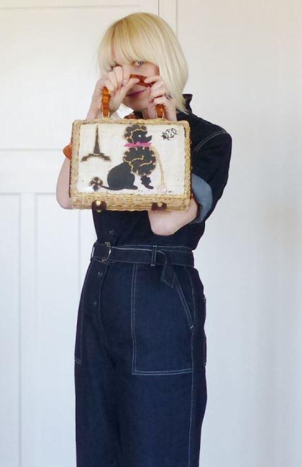 Freddies of Pinewood's Grease Monkey denim junp suit reviewed by Kate BFreddies of Pinewood's Grease Monkey denim junp suit reviewed by Kate Beavis with 1950s vintage poodle bageavis