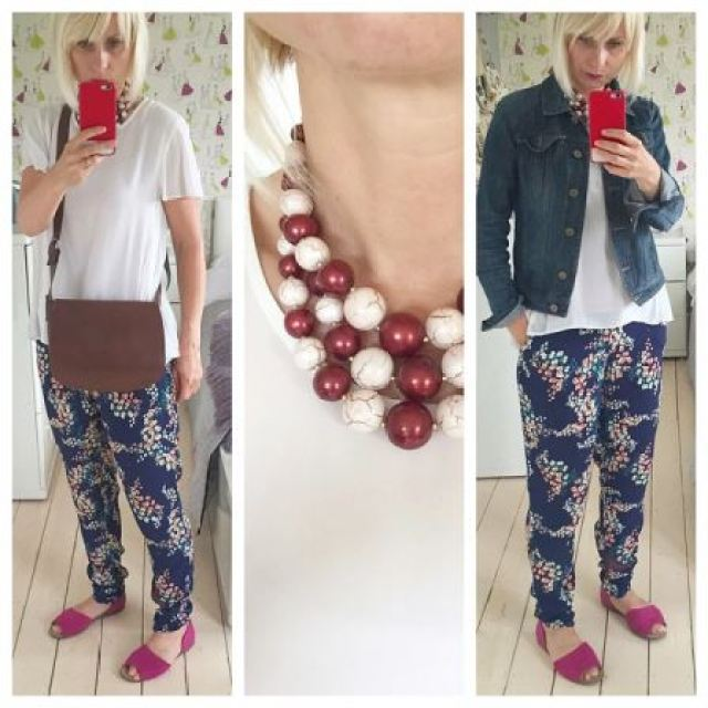 Vintage accessories worn with Monsoon trousers worn by Kate Beavis