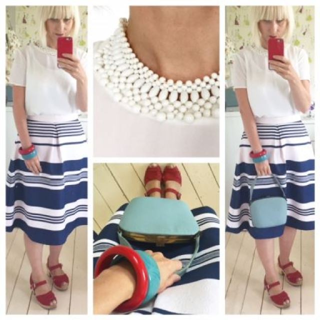 Nautical fashion by Oasis with vintage accessories worn by Kate Beavis Vintage