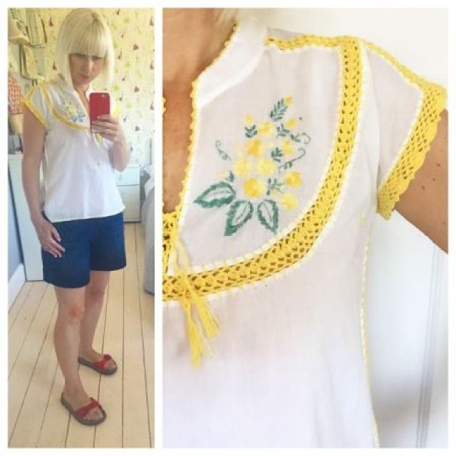 Vintage 1970s embroidered top worn by Kate Beavis