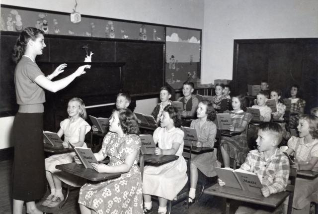 Vintge 1950s teaching photo as featured on kate Beavis Vintage Home blog
