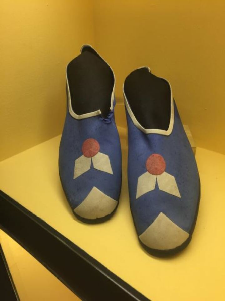 Vintage Victorian/Edwardian swimwear swimming shoes as featured on Kate Beavis Vintage Blog (from the F&T museum)