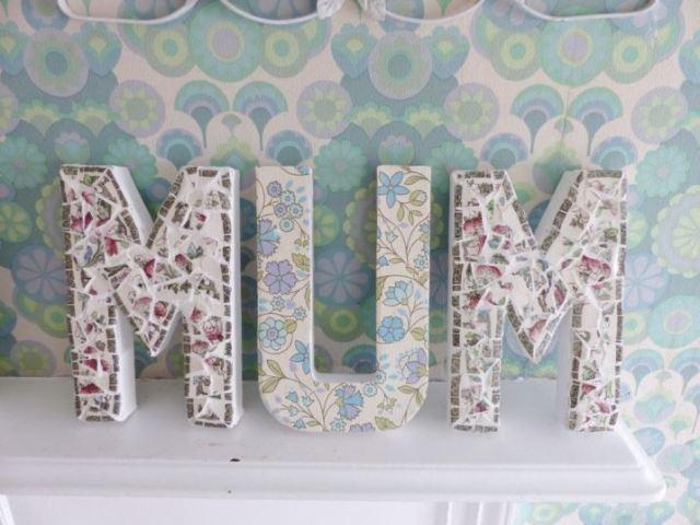 DIY Tutorial: vintage ceramic mosaic letters as featured on Kate Beavis Vintage Home blog