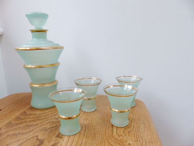 Vintage 130s art deco green cocktail glasses  as featured on Kate Beavis Vintage Home blog