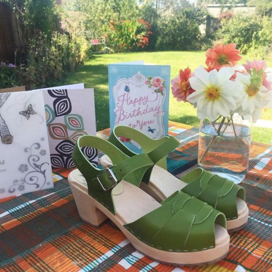 Green Lotta From Stockholm clogs shoes as featured on Kate Beavis Vintage Home blog