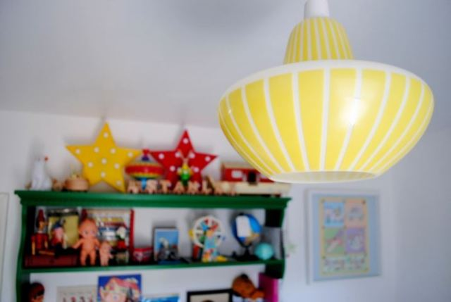 Vintage retro bright childs baby nursery as featured on Kate Beavis Vintage Home blog