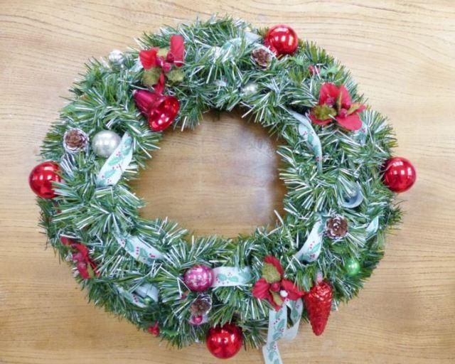 Vintage Christmas bauble wreath as featured on Kate Beavis Vintage Home blog