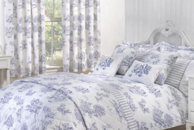 Vintage style bedding and curtains by Julian Charles as seen on Kate Beavis Vintage Home blog