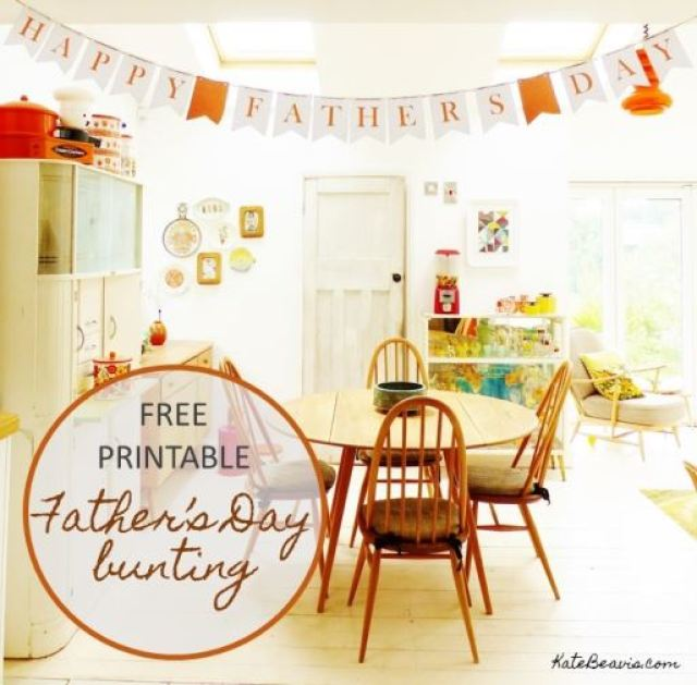Free printable Fathers Day Bunting Garland from Kate Beavis.com