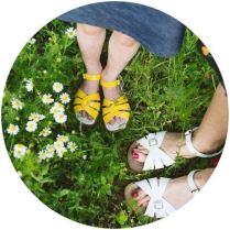 Salt water sandals on kate Beavis vintage home blog