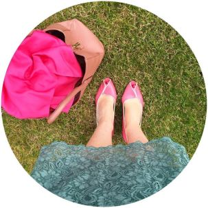 Vintage Jacques Vert shoes and Monsoon dress on Kate Beavis VIntage Home blog