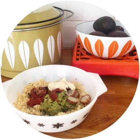 Vintage Pyrex, and Cathrine Holm pan and bowl