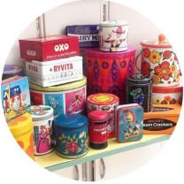 Vintage tins from 1950s 1960s 1970s 1980s