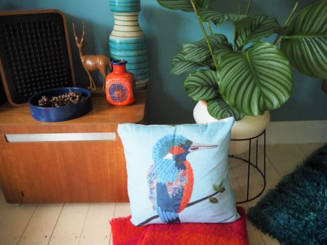 Blue kingfisher cushion by Perkins and Morley